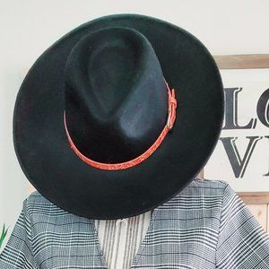 NWOT Black POL Boho Style Panama Hat 100% wool